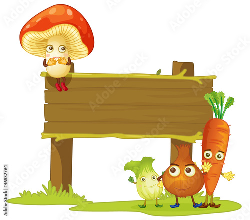 a board and vegetables