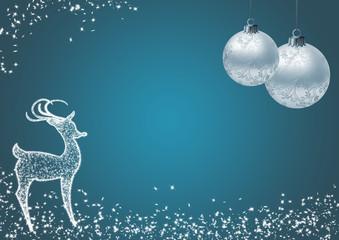 Weihnachtskarte mit X-mas Deko und Rentier