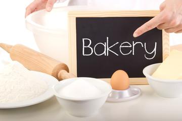 Blackboard showing: bakery