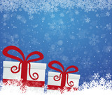 gift snowflake snow stars blue white background