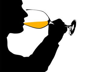 Wein trinken, Silhouette