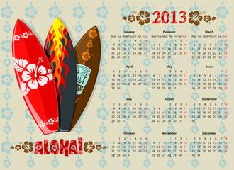 Vector Aloha calendar 2013 with surf boards