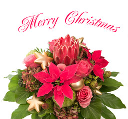 fresh flowers with golden christmas baubles