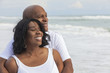 canvas print picture - Happy Senior African American Couple on Beach