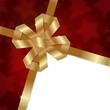 Elegant Christmas background with shiny gold bow.