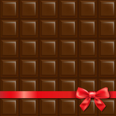 Chocolate Background With Red Bow