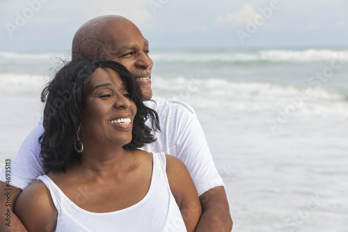 canvas print picture Happy Senior African American Couple on Beach