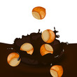 Vector Illustration of a Choco Splash with Hazelnuts