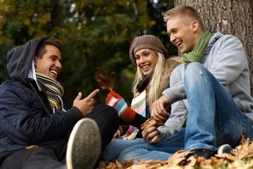 Happy companionship in autumn park