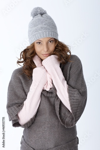 Winter portrait of attractive girl