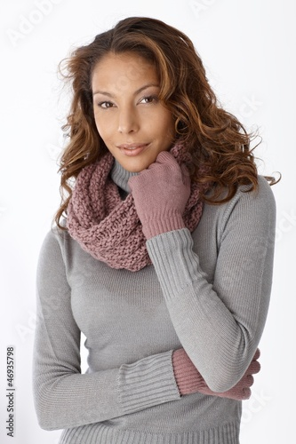 Attractive afro woman in winter clothes