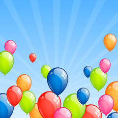Vector Illustration od Colorful Flying Balloons