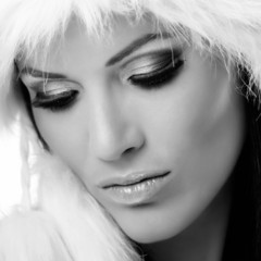 Closeup black and white glamour portrait