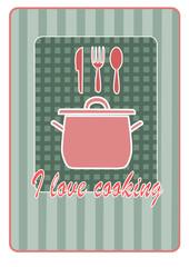 I love cooking - kitchen illustration.