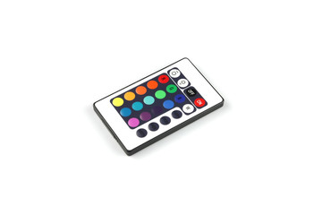 Colorful remote control for lighting on white background
