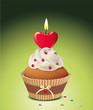 Cupcake mit Kerze in Herzform