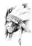 Sketch of tattoo art, native american indian head, chief, isolat