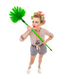 Funny cheerful housewife / girl with broom, isolated on white