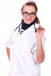 Young and beautiful female doctor with stethoscope