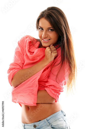 Beautiful young woman in red shirt