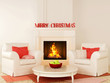 Christmas fireplace and a white chair