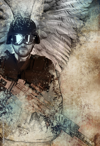 Dark angel with gun, fantasy concept