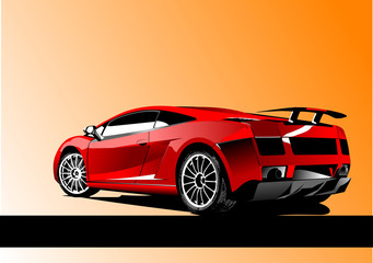 Automobile show with concept-car. Vector illustration