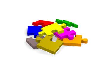 Colorful pieces of puzzle, 3d image