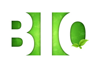 Logo Bio - sfondo floreale verde con foglie