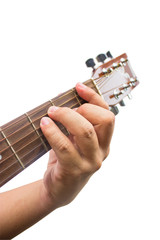 The guitarist show the F chord on the guitar isolated on white b
