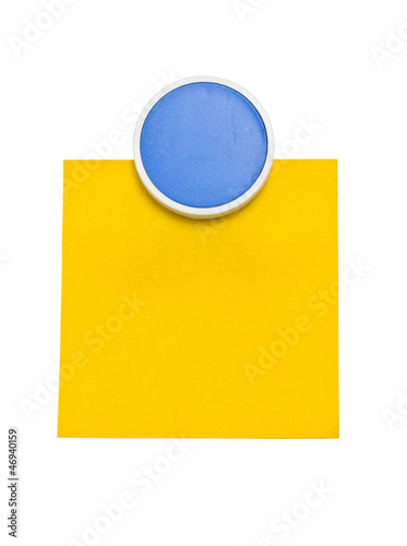 Blue clip with yellow sticky note isolated on white background.