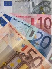 Billetes de euro usados.