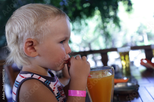 Boy drinking fresh juice