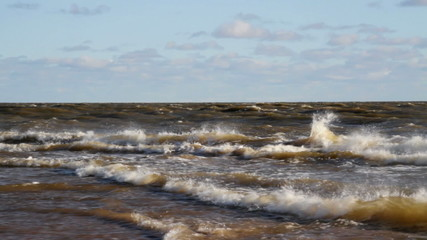 Storm on Baltic sea at the Kolka cape.
