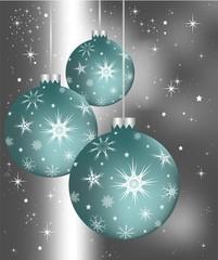 Christmas spheres on gray dim background