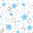 Seamless pattern with blue watercolor flowers