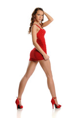 Young Beautifull Woman wearing a red dress