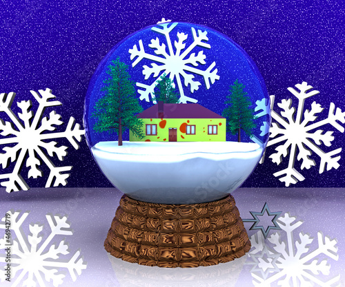 Carillon Christmas winter landscape with house - 3D
