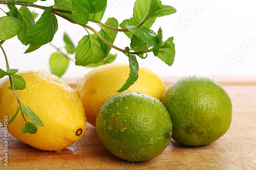 Green lime, yellow lemon and fresh mint
