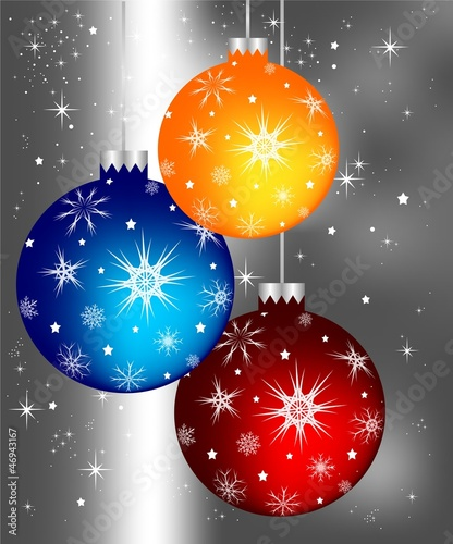 Orange, dark blue and red Christmas spheres