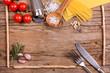 Hintergrund mit Zutaten zum Kochen