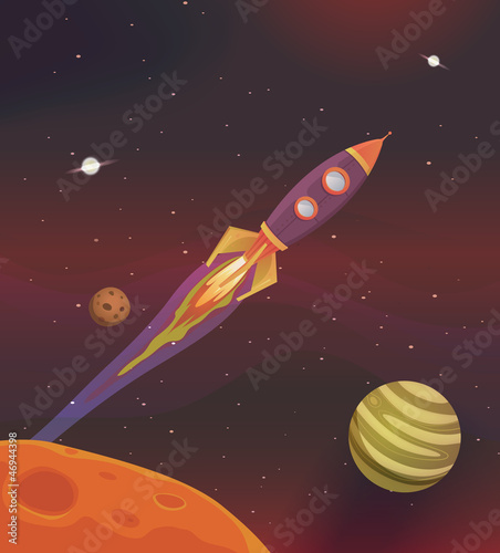 Canvas Kosmos Cartoon Spaceship Flying Into Galaxy