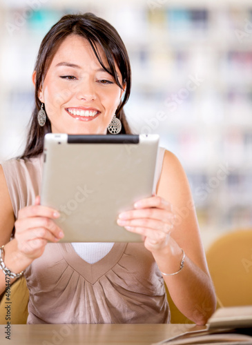 Woman reading on an e-reader