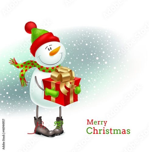 Smiling snowman with Christmas gift