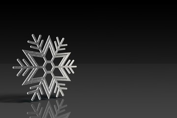 A snowflake on the black background