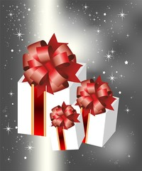 Gift with  red bow,  vector