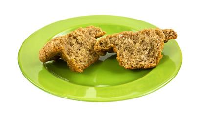 Banana nut muffin on dish