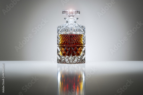 Crystal decanter with whiskey or brandy