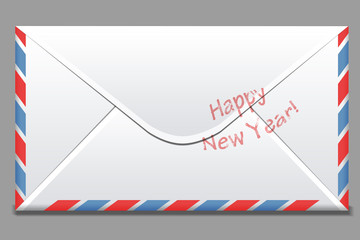simple white envelope with red and blue stripes