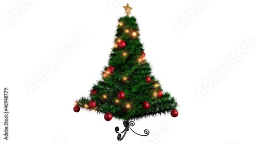 Rotating Christmas tree over white background, alpha channel